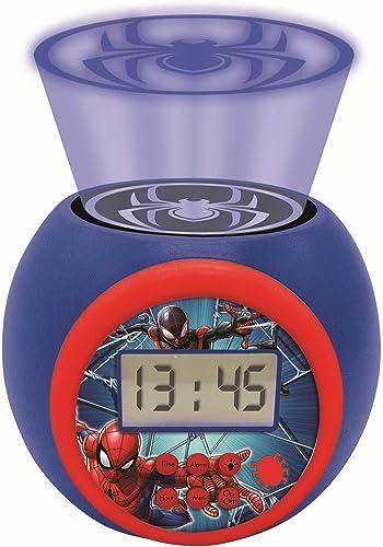 Lexibook- Réveil projecteur Spiderman Marvel avec Fonction Alarme et répétition Snooze, veilleuse avec minuterie, écr...