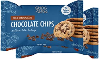 ChocZero's Milk Chocolate Chips - No Sugar Added, Low Carb, Keto Friendly, Gluten Free - For Baking Keto Diet Snacks (7oz ...