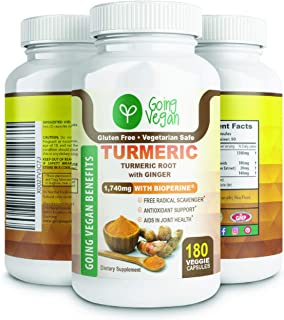 Turmeric Curcumin with Bioperine 1500mg and Ginger, 95% Curcuminoids with Black Pepper, Anti-Inflammatory Supplement for J...
