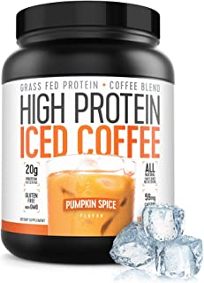 Protein Coffee Iced Coffee, High Protein Coffee, Grass Fed, Keto Friendly, 20g of Protein, 1g Carbs, All Natural (Pumpkin ...