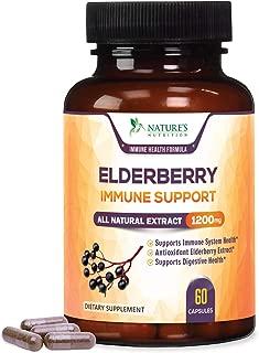 Elderberry Capsules Highest Potency Immune Support 1200mg - Flu & Cold Relief Black Sambucus Nigra Extract Pills - Made is USA - Best Vegan Adults Antioxidant Powder Supplement - 60 Capsules