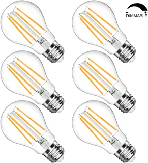 LANGREE Vintage LED Edison Bulb, Dimmable A19 LED Filament Light Bulbs, 2700K Soft White, Equivalent 60 Watt, E26 Medium Base Led Bulb, Clear Glass for Bathroom Kitchen Dining Room, Pack of 6
