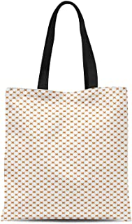 S4Sassy Blue Cross & Geometric Print Canvas Shopping Tote Bag Carrying Handbag Casual Shoulder Bag 16x12 Inches