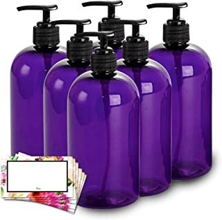 BAIRE BOTTLES - 16 OZ PURPLE PLASTIC REFILLABLE BOTTLES with BLACK PUMPS - ORGANIZE Soap, Shampoo and Lotion with a Clean, Classy Look - PET, Lightweight, BPA Free - 6 Pack, BONUS 6 FLORAL LABELS