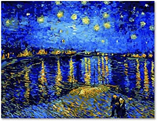 LIUDAO Paint by Numbers Kits 16x20 inches Canvas Painting for Adults & Kids Beginner with Acrylic Paints and Brushes - Starry Night Over The Rhone by Van Gogh (Without Frame)