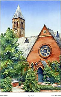Cornell University Wall Decor of Sage Chapel Ithaca NY Wedding Gift Big Red Watercolor 12