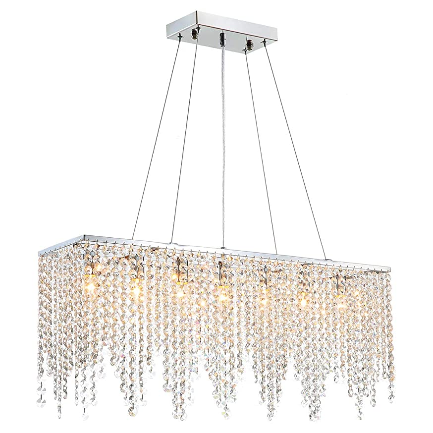 Yue Jia Crystal Chandeliers Linear Lights Top K9 Crystal Pendant Light Italian Style Island Pendant Lamp Lighting Fixture for Dining Living Room Restaurant L32