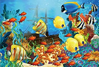 LFEEY 10x7ft Underwater Pirate Shipwrecks Photography Background Ocean Seabed Under The Sea World Fishes Aquatic Plant The Sinking Sunken Ship Photo Backdrop Photo Studio Props