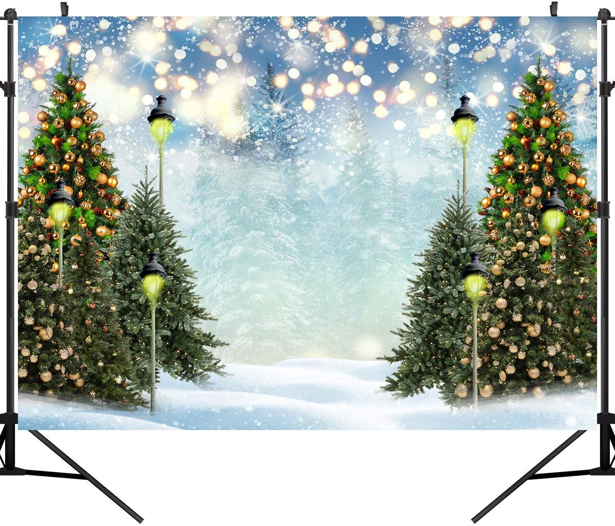 DULUDA Christmas Tree Photography Backdrop for Portrait Winter Snow Bokeh Lamp Green Pine Xmas Background Photographer Decors Photo Studio Booth Prop 7X5FT XM67A