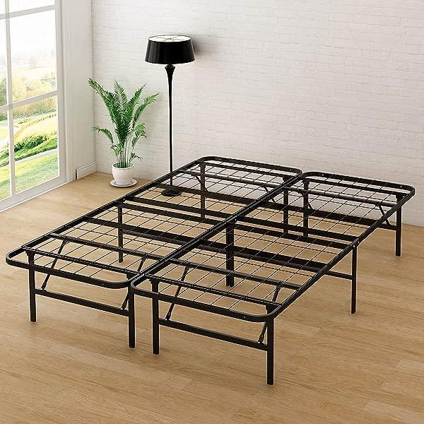 DUMEE 14 Inch Folding Platform Metal Bed Frame Mattress Foundation Box Spring Replacement Full Size Black