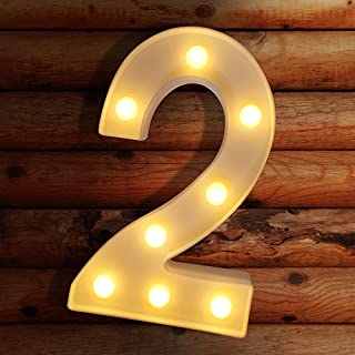 LECLSTAR Number Lights LED Marquee Light Up Letter Sign Number Lights for Night Light Wedding Birthday Party Christmas Home Bar Decoration Battery Powered, Create Cafe Ambience in Your Room - 2