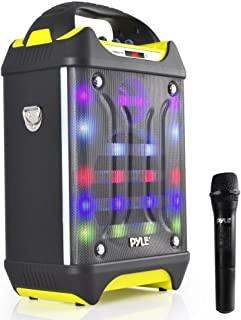 Portable Bluetooth Karaoke Speaker System - Audio Recording Function, 32 GB USB/SD Card Support, Built-in Rechargeable Battery, Flashing DJ Light w/ Music Streaming & Handheld Mic - Pyle PWMA275BT