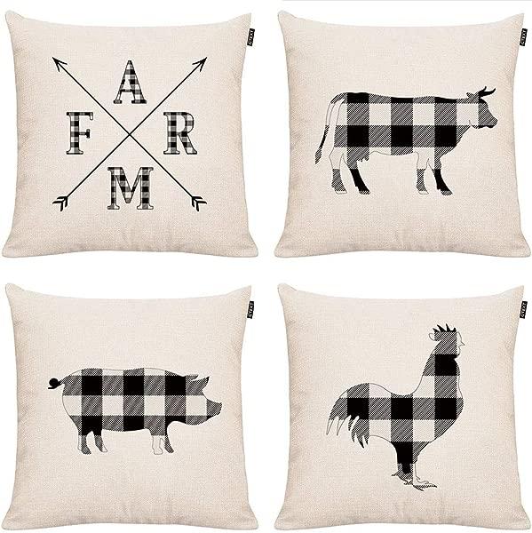 GTEXT 4 Pack Rustic Plaids Design Farmhouse Throw Pillow Covers Buffalo Check Farm Animals Cotton Linen Cushion Covers For Sofa Chair Bed 18x18 Inch