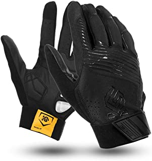 LCHAO Wind Protection Motorcycle Touch Screen Waterproof Gel Pad PU Leather Winter Warm Full Finger Gloves (Color : Black, Size : XXXL)