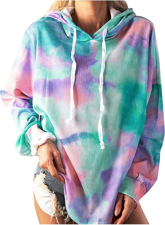 Women Tie Dye Weekly Super sale period limited update Hoodie Plus Size Long Sweatshirt Hooded Sleeve Pul