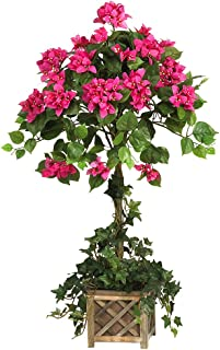 Nearly Natural 5227 34in. Bougainvillea Topiary with Wood Box