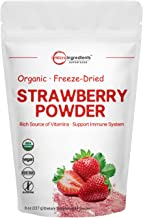 Organic Strawberry Freeze Dried Powder, 8 Ounce, Rich in Multivitamins and Antioxidants, Best Super Foods for Smoothie & Beverage Blend, Non-GMO and Vegan Friendly