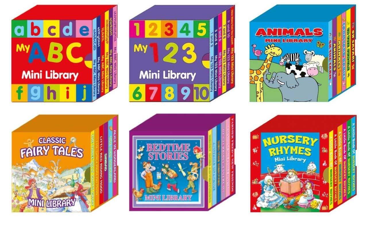 Alligator Products Mini Library Libros de cartón para niños - Caja de 6 Mini Libros de cartón: ABC, 123, Cuentos para Dormir, Canciones Infantiles, Cuentos de Hadas clásicos, Animales (6 Books Set):