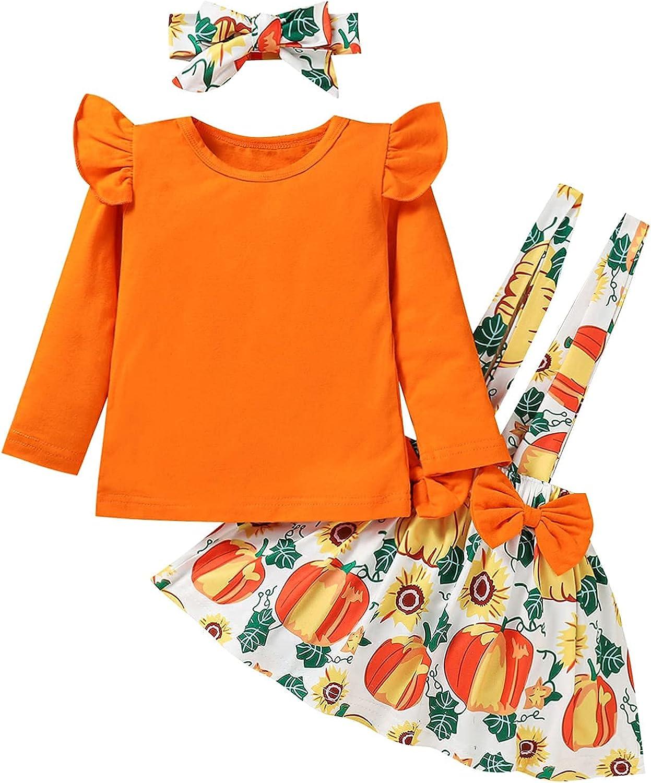 Malciklo Baby Girls Halloween Round Neck T-shirt Pumpkin & Bow Suspender Skirt Outfit Little Girls Dresses 1-6T