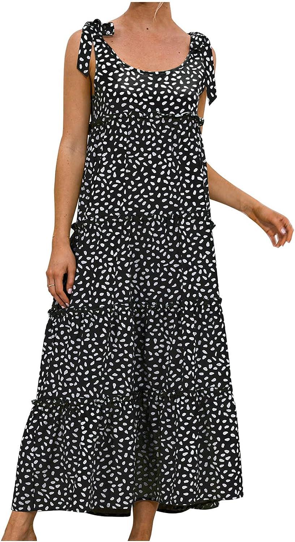 Women's Sleeveless Tank Dress Summer O-Neck Dot Print Casual Long Dress Holiday Beach Maxi Dresses