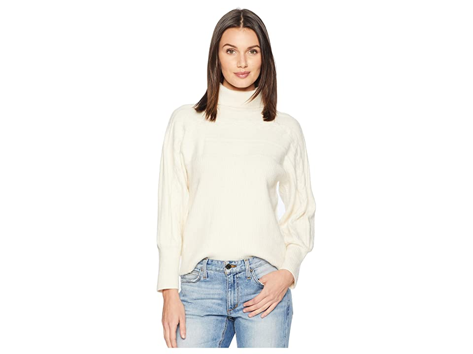 J.O.A. Turtleneck Cable Knit Pullover Sweater (Ivory) Women