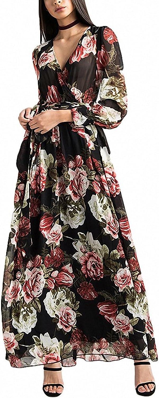 Hiuwa Womens Flora Print Vintage Long Line Dress Lace up Waist Ruffle VNeck