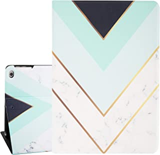 White Marble iPad Air 9.7 Case, Golden Mint Green Black Stripes Smart Tablet Case for iPad Air 1/2 5th/6th Gen 2017/2018 Auto Sleep Wakeup