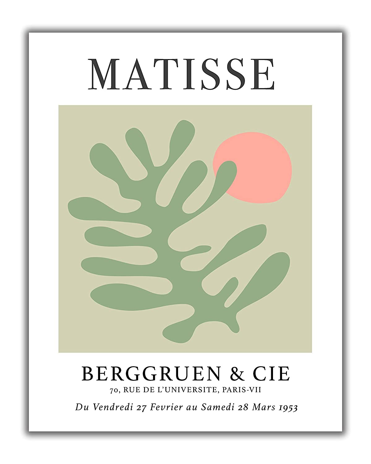Matisse-Inspired No.16 Exhibition Wall Art Print. 11x14 UNFRAMED. Abstract, Minimalist Modern Wall Decor. Cut-Out Botanical Shapes in Shades of Sage Green & Pink on Gray.