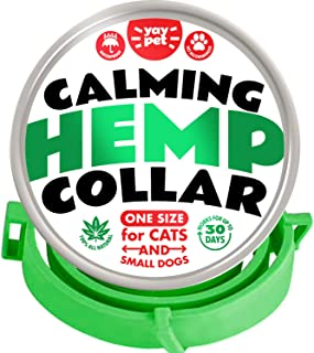 YAY PET Cat Calming Collar with Hemp - Reduce Cat Stress with Natural Pheromones - Waterproof and Adjustable - Up to 15 In...