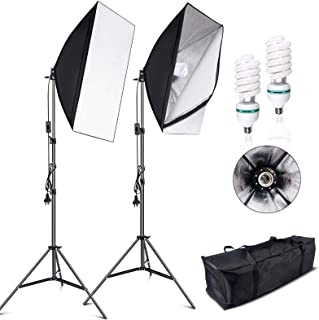 VOLKWELL Softbox Lighting Kit Professional Photography 2x135W 5500K Continuous Light Studio Equipment with E27 Socket Bulb...