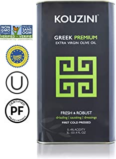 Kouzini (3L - 101.4 fl oz) Extra Virgin Greek Olive Oil | First Cold Pressed | Current Harvest 2018/2019 | Single Origin | NONGMO Verified | Family Owned