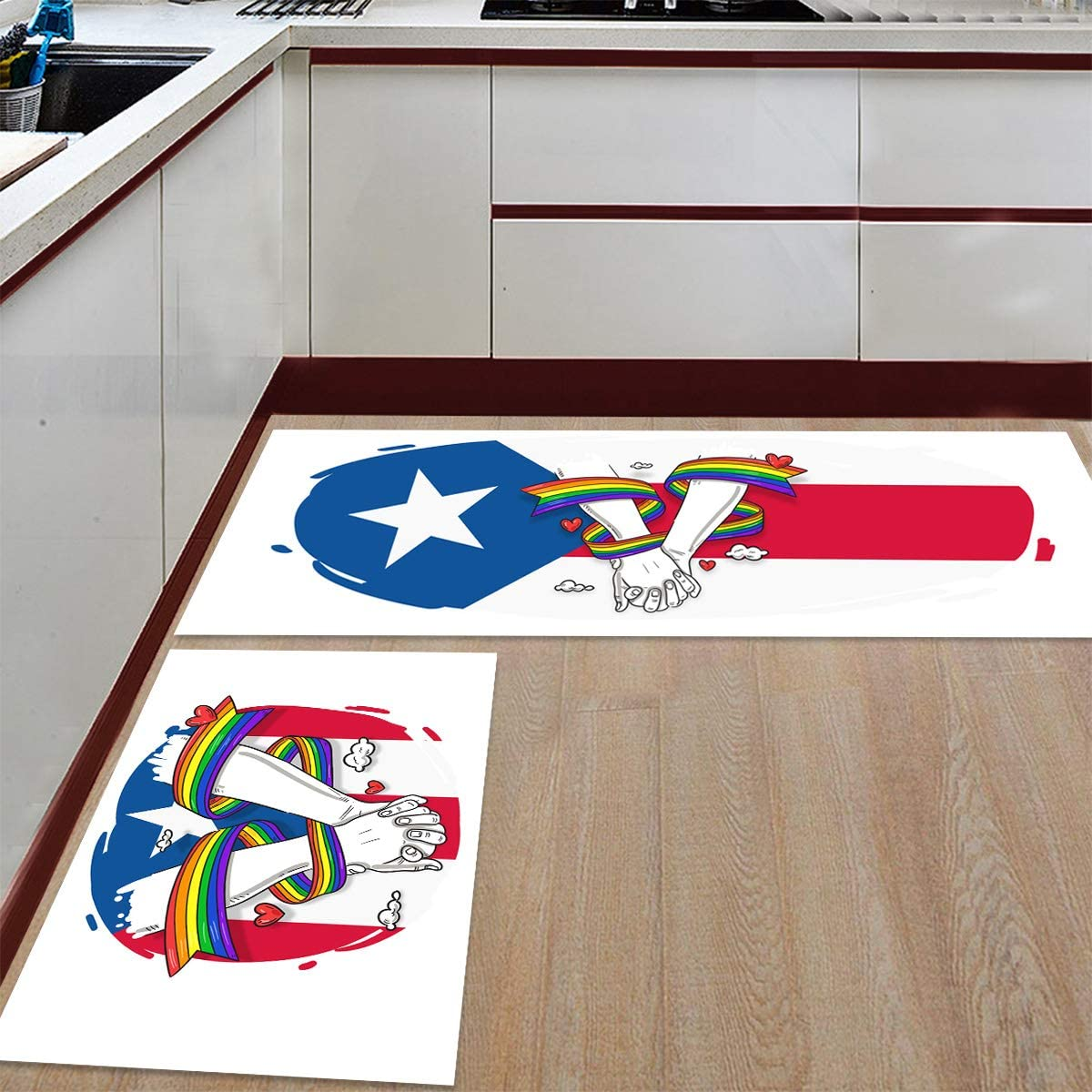 2 Pieces Ranking TOP4 Anti-Slip Kitchen Mats Puerto Rico Han and Popular shop is the lowest price challenge Rainbow Flag