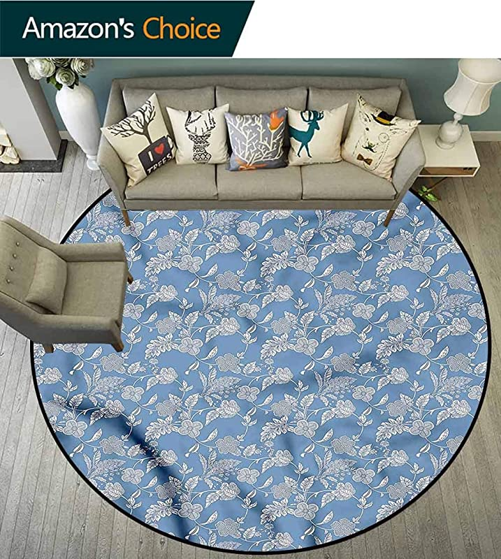 RUGSMAT Blue And White Area Silky Smooth Rugs Vintage Flowers Printed Round Carpet For Children Bedroom Play Tent Diameter 47