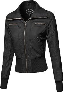 Women's Long Sleeves Zipper Closure Motorcycle Biker Faux Leather Jacket