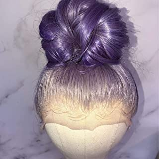 """Human Hair Lace Wig 8A Grade Pure Purple Color 130% Density Full Lace Wig with Baby Hair (16"""", lace front wig)"""