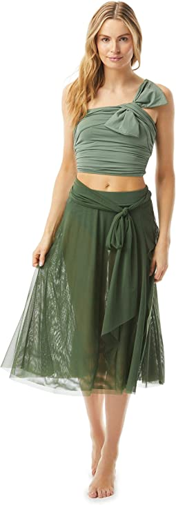 Bowline Soiree Mesh Swing Skirt Double Layer with Sash Tie