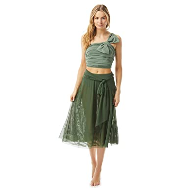 Carmen Marc Valvo Bowline Soiree Mesh Swing Skirt Double Layer with Sash Tie (Sage) Women