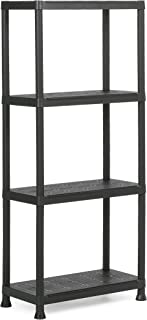 KETER |Etagère Plus 60/4, Noir, 60 x 30 x 135 cm, Plastique