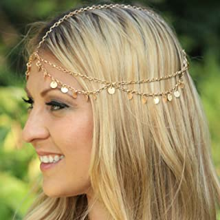 Honbay Alloy Fashion Headband Headpiece Headdress Headwrap Head Chain with Sequines for Wedding,Party,Evening,Photography,etc