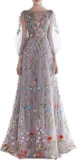 Women's Long 3D Flower Prom Party Dress Backless Evening