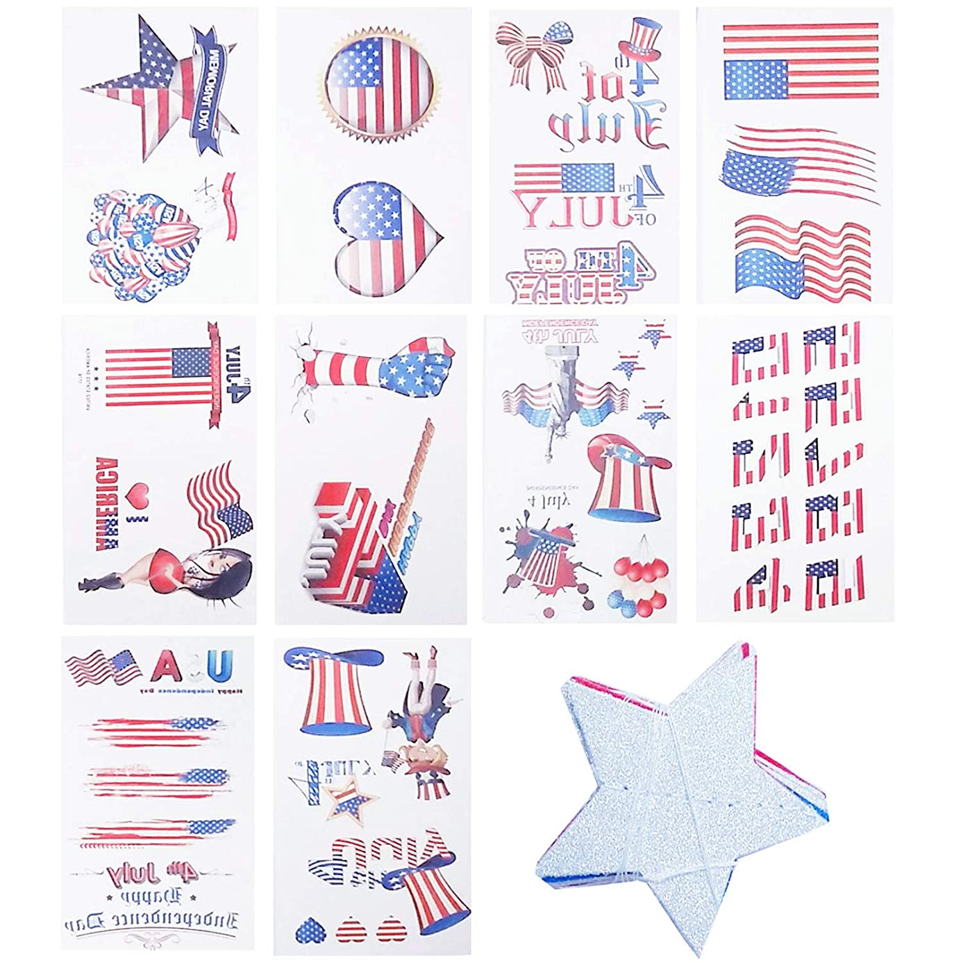 Patriotic Party Decorations Supplies for Independence Day, DaNaRaa Fourth July Patriotic Star Streamers and Tattoo Stickers for Celebration Holiday