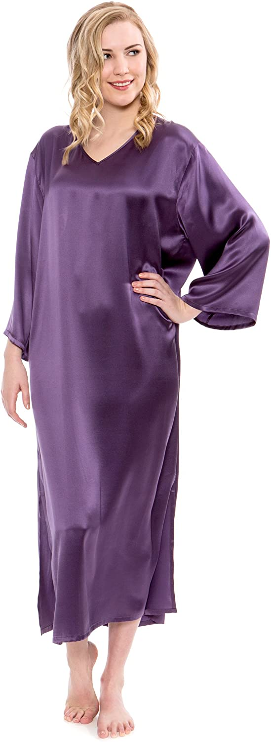 TexereSilk Women's Silk Nightgown 3 4 Sleeves  Luxurious Nightgown for Her