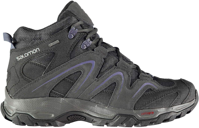 Official Brand Salomon Vandon Mid GTX Walking Boots Womens Grey bluee Hiking Trekking shoes