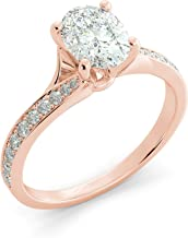 2.00 tcw Oval Cut Charles & Colvard Forever One Moissanite & Round Cut Diamond Split Shank Custom Engagement Ring Your choice of 14k White Rose or Yellow Gold