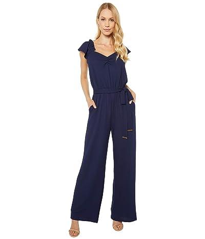 MICHAEL Michael Kors V-Neck Flutter Sleeve Jumpsuit (True Navy) Women
