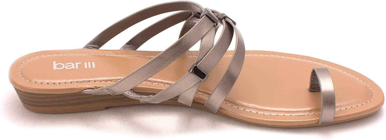 bar III Womens Vanita Open Toe Casual Slide Sandals, Pewter, Size 6.5