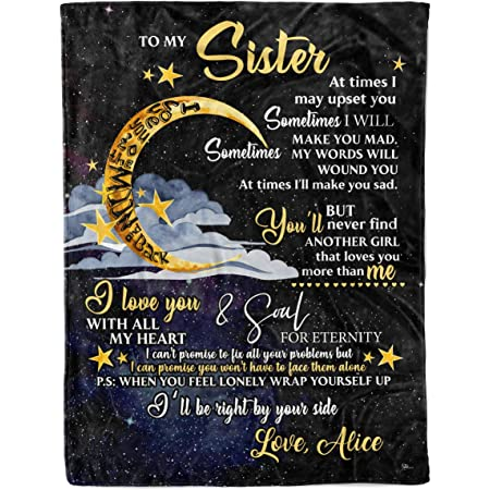DEAR SISTER At Times I May Upset You 3D Pattern Custom Fleece Photo Blanket Fan