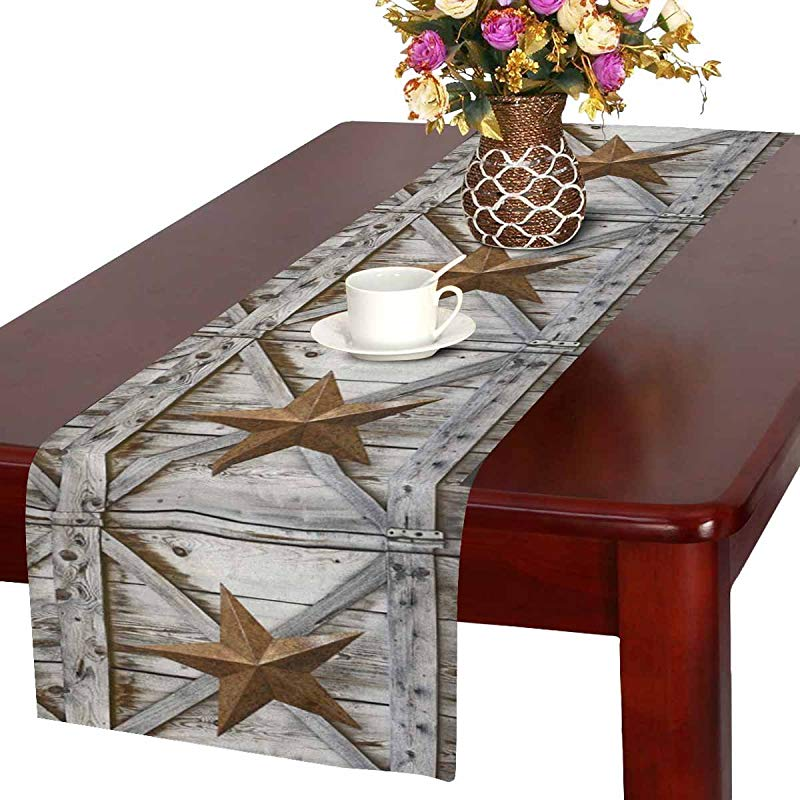 InterestPrint Western Texas Star On Rustic Old Barn Wood Table Runner Linen Cotton Cloth Placemat Home Decor For Wedding Banquet Decoration 16 X 72 Inches