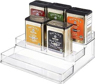 iDesign rangement cuisine, grande étagère de rangement en plastique à 3 niveaux, étagère à épices pratique pour épices ou ...