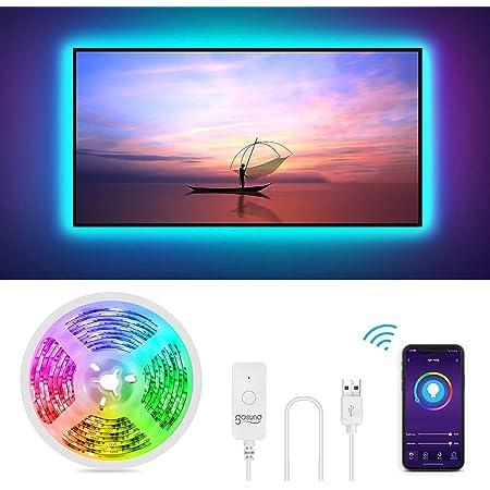 Gosund 2.8Mts Tira Led TV/PC, Luces LED Wifi USB Control Remoto para Ajustar 16Millones Colores y Brillo, Compatible con Alexa/Google Home, Retroiluminación LED RGB Inteligente Monitor (40-60 Pulgada)